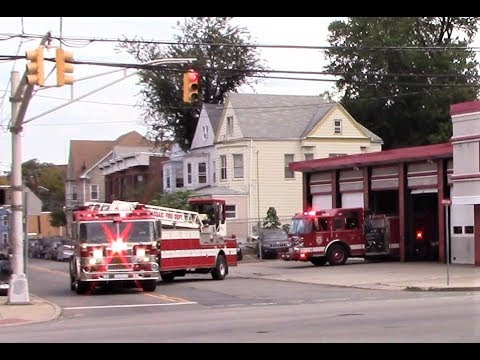 Passaic NJ Fire Department Ladder 1 and Engine 4 Responding out of Westside Firehouse Oct 11th 2017