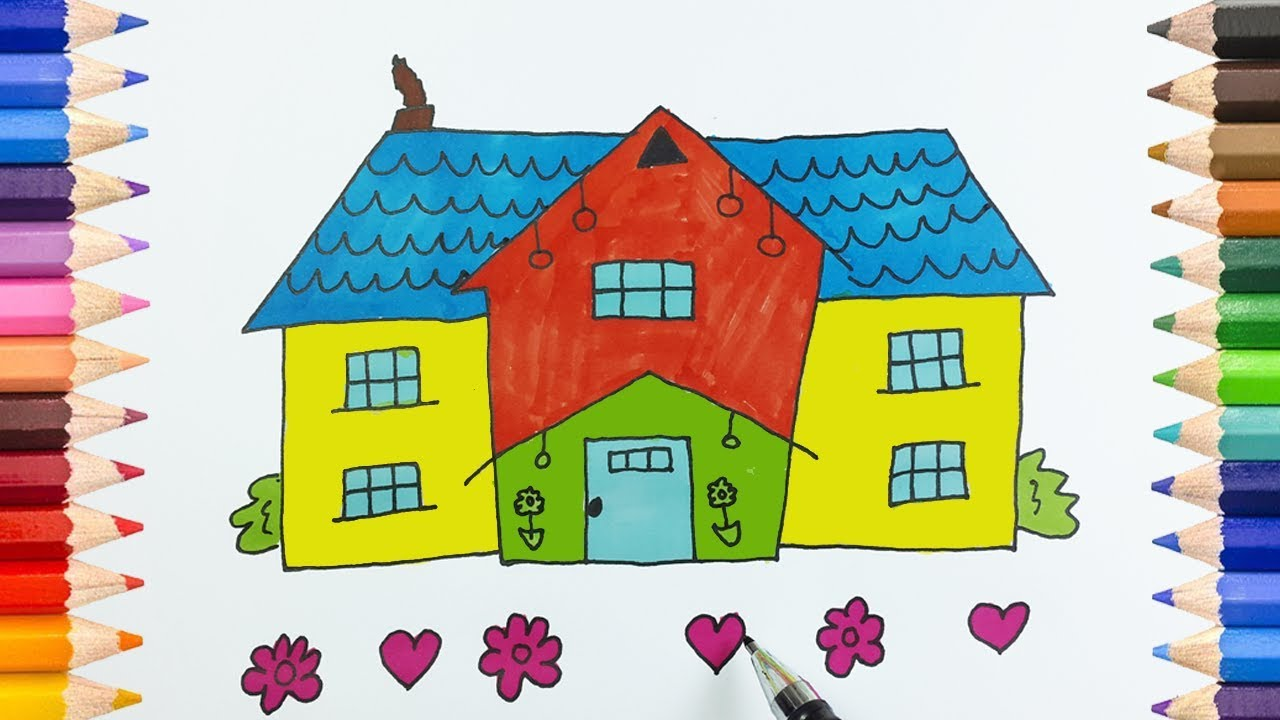 How To Draw And Paint Barbie Dream House With Marker Color Teaching Drawing For Kids