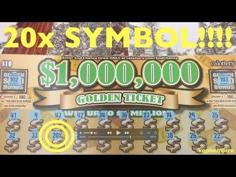 OMG EPIC $1,000,000 GOLDEN TICKET WIN WOW!!! California Lottery Scratchers