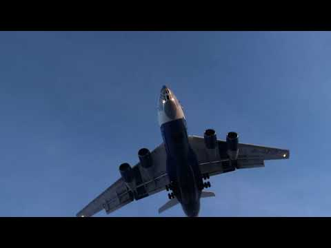 Silkway Il-76 overhead landing in Bratislava Airport LZIB