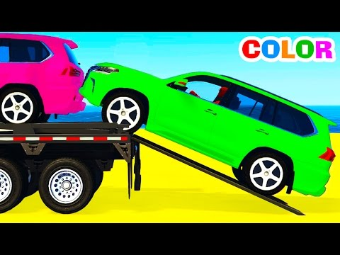 Thumbnail: FUNNY SUV CARS Transportation and Spiderman Cartoon for Children w Colors for Kids Nursery Rhymes