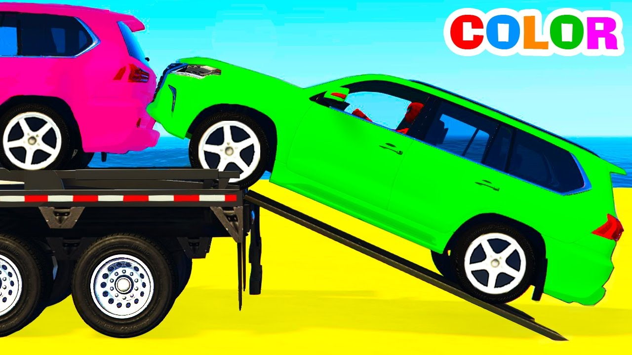 funny suv cars transportation and spiderman cartoon for children w colors for kids nursery rhymes youtube