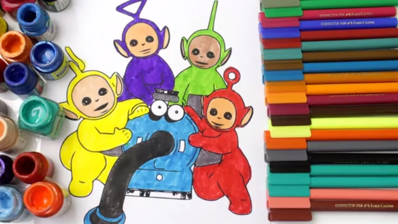 Learn Colors For Kids And Color Teletubbies Colouring Page Pages Baby Tube Fun