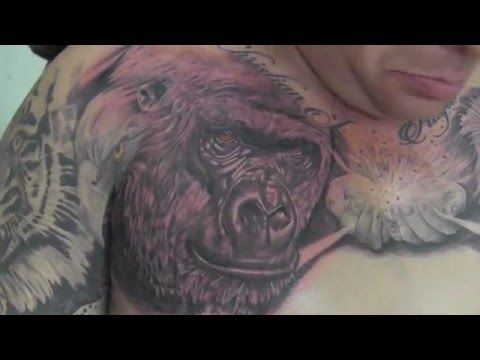 Gorilla tattoo in black and grey by Jesus Sanchez (Wylde Sydes Tattoo)