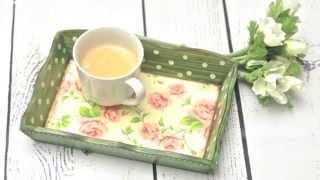 How To Decorate A Wooden Tray - Decoupage Diy