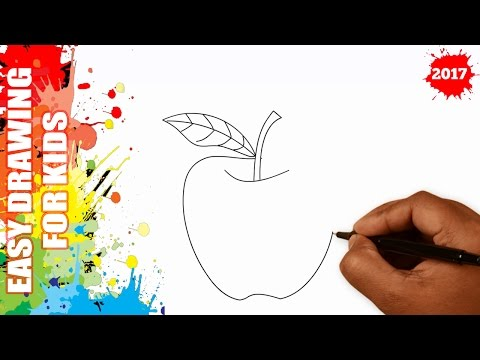 How to draw an apple EASY and SIMPLE for kids in 60s