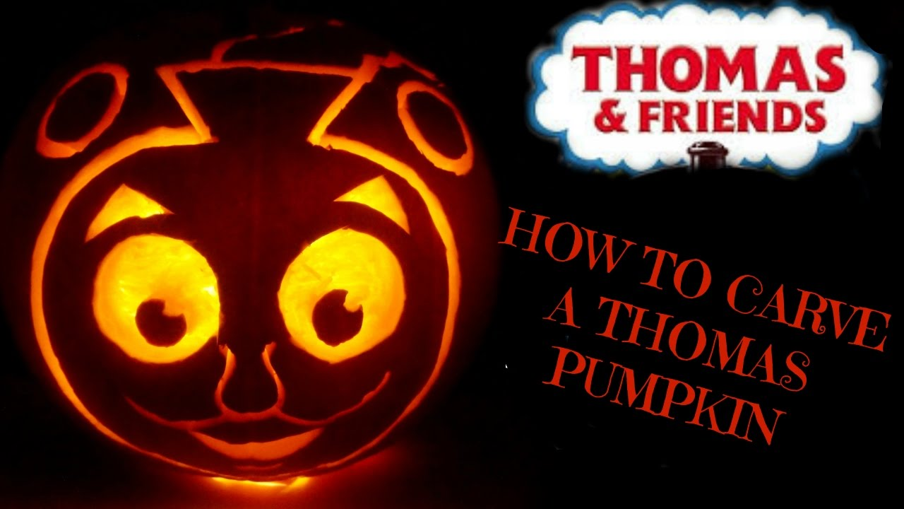 Pumpkin carving tutorial thomas the tank train youtube for Thomas pumpkin template