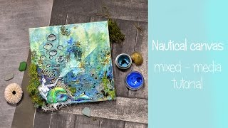 Quick way of creating underwater canvas | mixed media tutorial