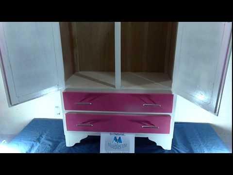 Mueble para ni a ropero chico color rosado con blanco for Roperos para cuartos de ninas