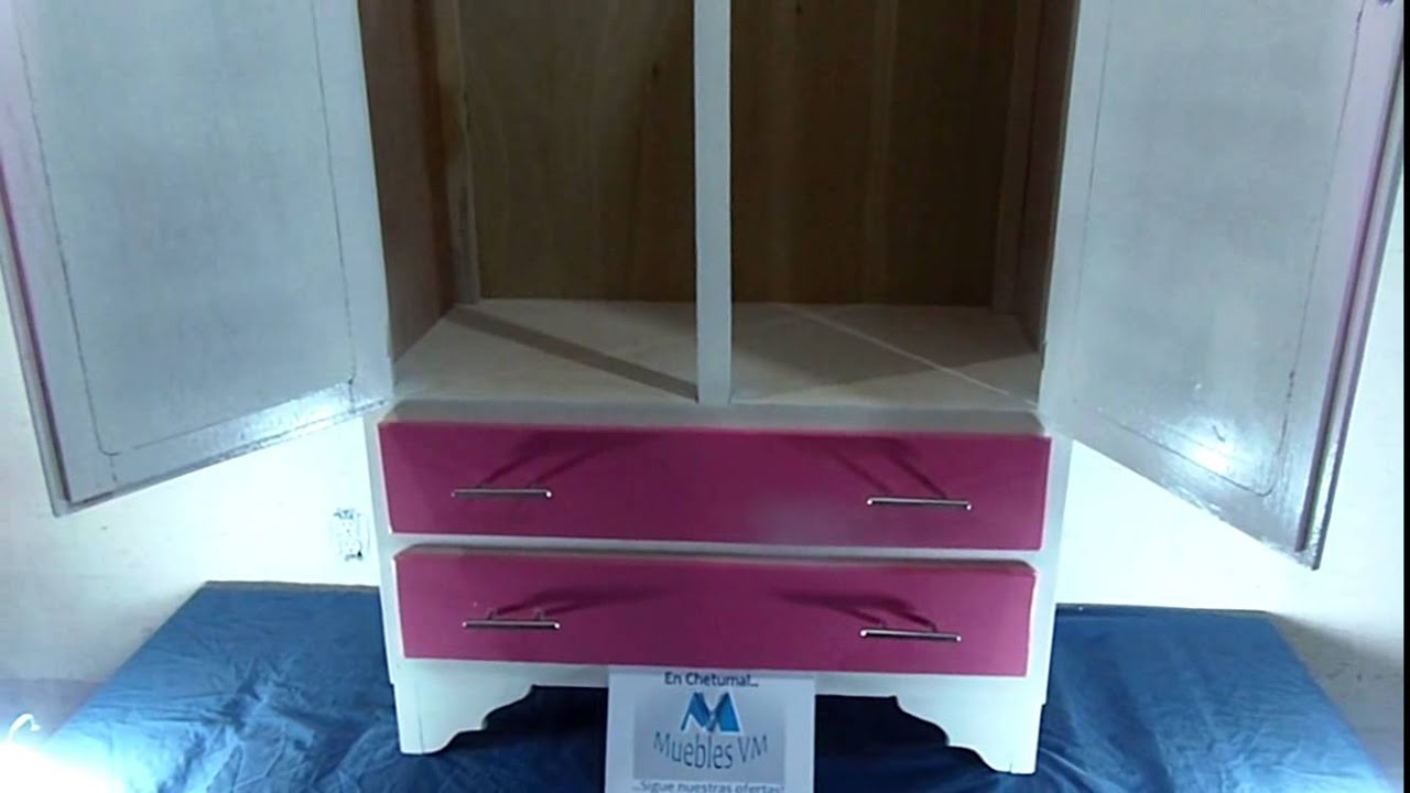 Mueble Para Ni 241 A Ropero Chico Color Rosado Con Blanco