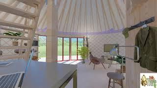 Visite d'une yourte contemporaine en 3D (mobileyourte). Aménagement d'une yourte avec mezzanine.