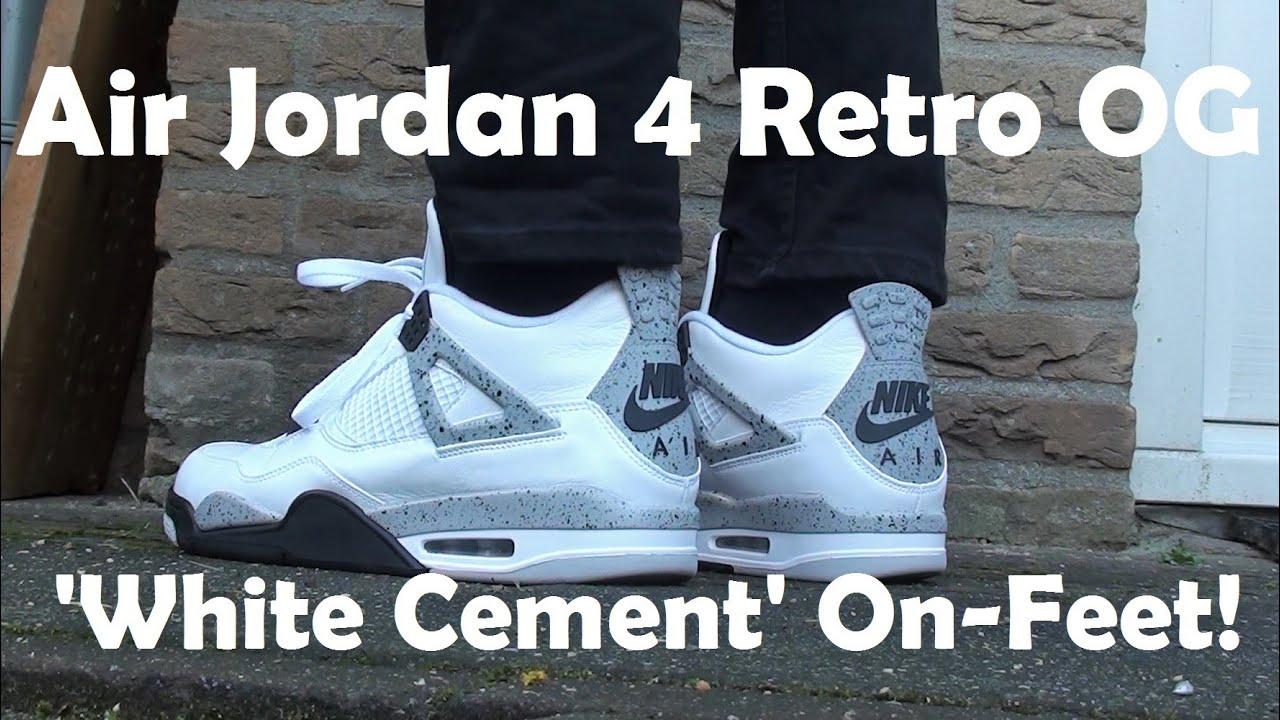 buy popular eb33e d06cf 2016 Air Jordan 4 Retro OG  White Cement  - On Feet Look!