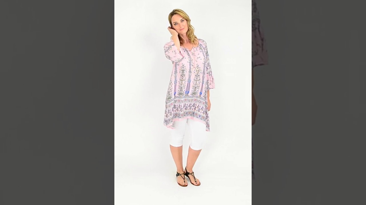 29488fae1be I Love Tunics presents Pink Floral Bell Cuff Tunic Top - YouTube