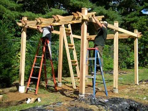 Veranda bauen  Pergola installation at Union County Demonstration Gardens - YouTube
