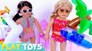 American girl dolls swimming pool adventure with drawing water toys! 🎀