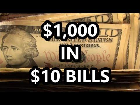 $1,000 BANK STRAP HUNTING In TEN DOLLAR BILLS - Searching $10 U.S. BANKNOTES