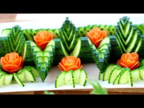 Cucumber and Carrot Rose Flower | Fruit & Vegetable Carving  Decoration | Party Garnishing