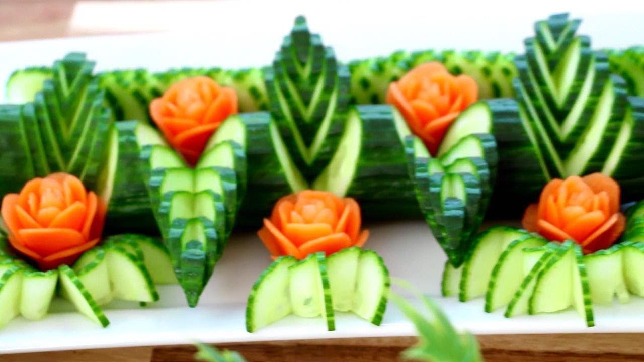 Cucumber and carrot rose flower fruit vegetable
