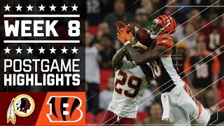 Redskins vs. Bengals | NFL Week 8 Game Highlights