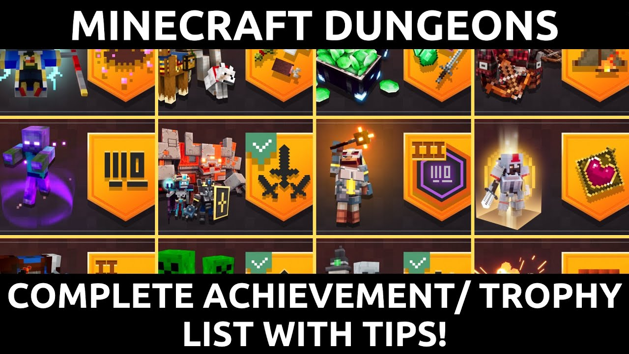 Minecraft Dungeons Complete Achievement / Trophy List With Tips