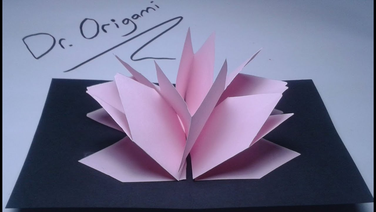 Diy Very Easy Kirigami Pop Up Card Lotus Flower Youtube