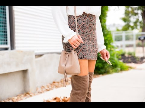 Patterned Pretty: Mini Skirt & Over Knee Boots | Hustle + Halcyon