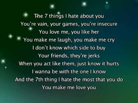Miley Cyrus - 7 Things, Lyrics In Video