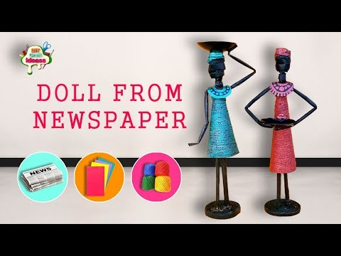 How to make doll from Newspaper and Tissue paper | African doll || diy Craft Ideas
