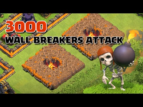 Clash Of Clans - 3000 Wall Breakers Attack (Massive Clash Of Clans Gameplay)