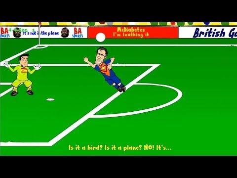Spain vs Netherlands 1-5 THE CARTOON (Super Man Robin Van Persie) 2014 HD