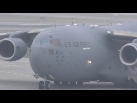 (WEF 2018) US Air Force Boeing C17 Globemaster III at ZRH with live ATC