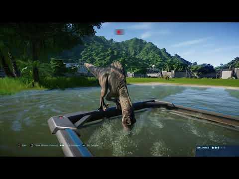 jurassic-world-evolution:-spinoraptor-pair-vs-nigersaurus-herd