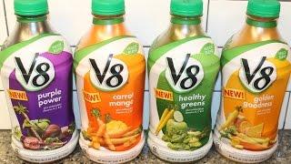 V8 Veggie Blend: Purple Power, Carrot Mango, Healthy Greens & Golden Goodness Review