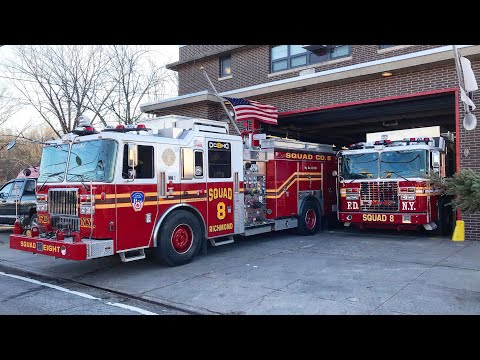 EXCLUSIVE VIDEO OF BRAND NEW FDNY SQUAD 8 & IT'S 2ND PIECE ARRIVING AT QUARTERS FOR THE 1ST TIME.