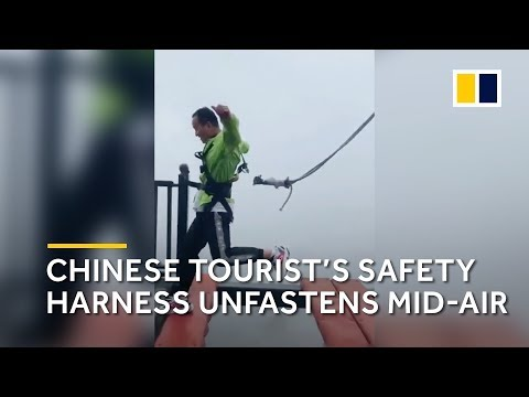 Safety cord tied to Chinese tourist unfastens mid-jump on high-altitude bridge