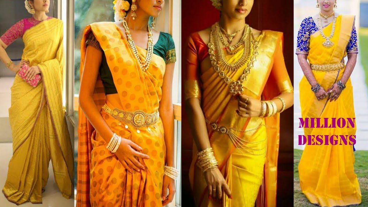 Yellow Kanchipuram Sarees And Blouse Match Color Combinations