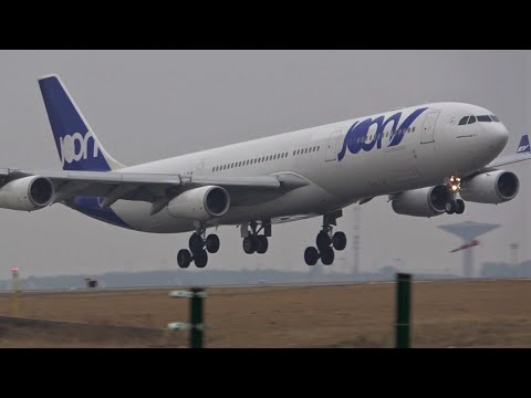 Plane Spotting Paris CDG Airport, Heavy landings and Take Offs / Strong Crosswind landings
