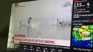 JIM CANTORE ALMOST GETTING HIT BY DEBREE LIVE! | HURRICANE MICHAEL