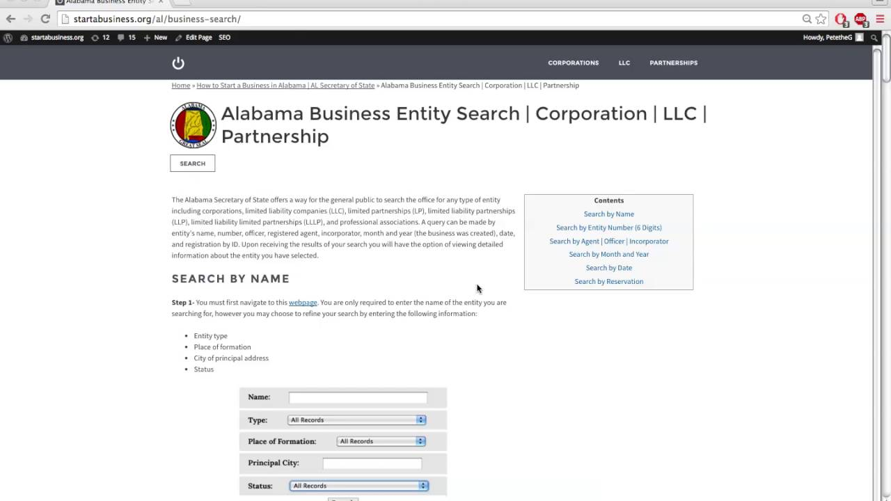 Alabama Business Entity & Corporation Search