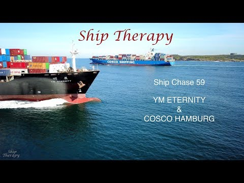 Ship Chase 59 - YM Eternity & Cosco Hamburg - opposing movements at Port's entrance - Mavic Pro 4K