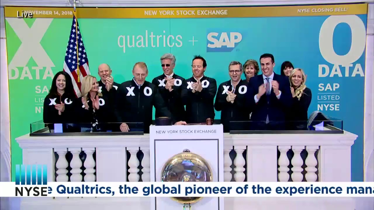 Bill McDermott, CEO of SAP & Ryan Smith, CEO of Qualtrics, ring the NYSE Closing Bell