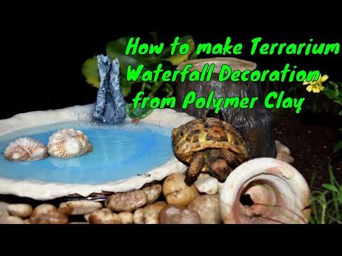 How to Make Waterfall Decoration at Home - Tortoise Terrarium Decoration Using Polymer Clay