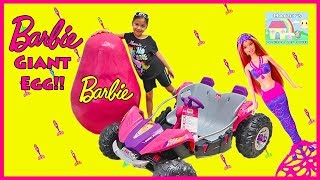 Giant Egg Surprise Barbie Toys Opening w/ Dolls & Ride On Car Toy!