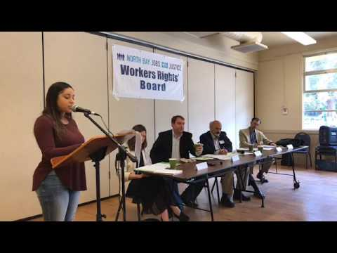 Jobs With Justice Workers' Rights Board Hearing regarding Marin General Hospital