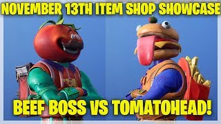 Fortnite Item Shop BEEF BOSS VS TOMATOHEAD! [November 13th, 2018] (Fortnite Battle Royale)