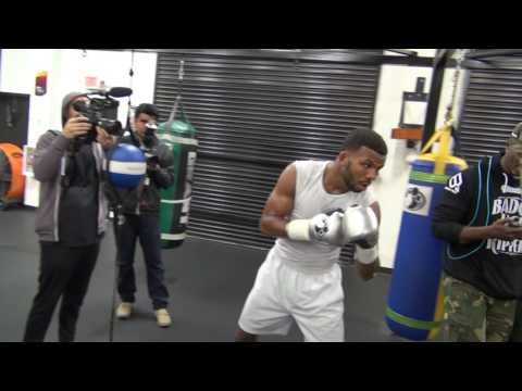 Badou Jack heavy bag work at media day for James Degale fight