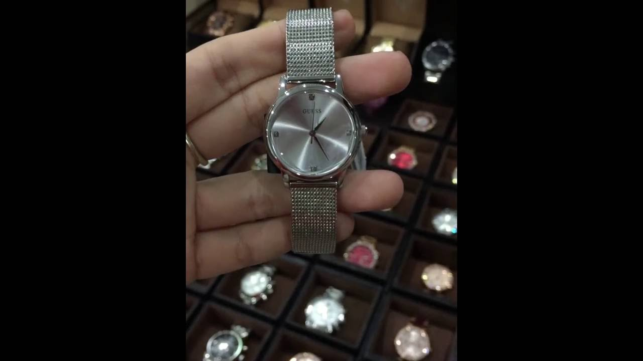 8ab96285e6bd GUESS Women s U0532L1 Silver-Tone Mesh Watch with Self-Adjustable Bracelet