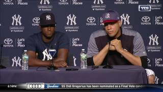 Dellin Betances and Luis Severino on Aaron Judge and Gary Sanchez in the 2017 HR Derby