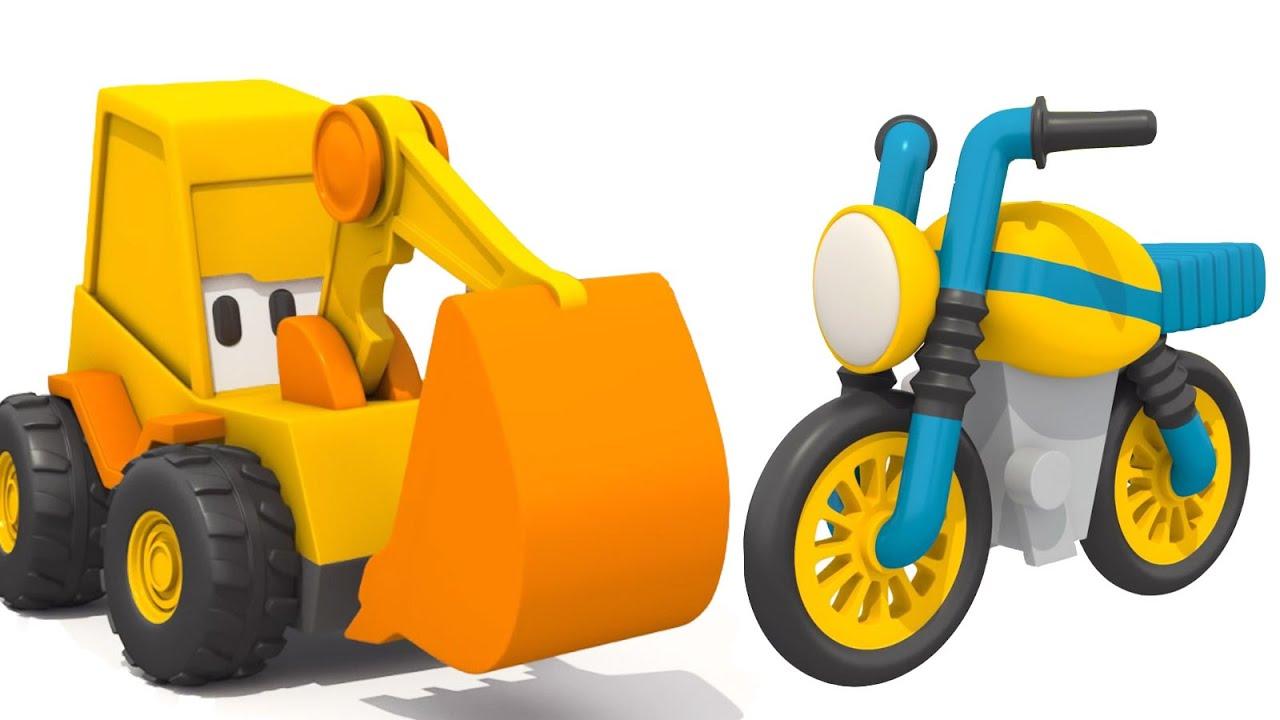 Max, a escavadeira vai montar uma moto com as peças surpresa! Animação infantil educativa
