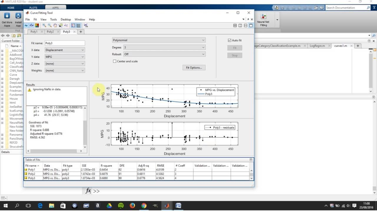 Curve Fitting App Simple Regression in Matlab